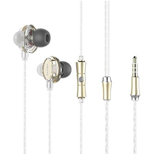 Ailihen X7 Earbuds with Microphone Dual Drivers Headphones in Ear Earphones Noise Isolating Headset for iPhone Android Tablet MP3 Computer- Gold