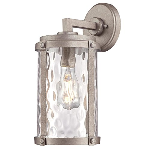 (Westinghouse Lighting 6358600 Armin One-Light, Weathered Steel Finish with Clear Water Glass OUTDOOR WALL)