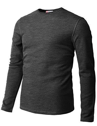 Waffle Crew Shirt - H2H Mens Casual Slim Fit Long Sleeve T-Shirts Crew-Neck Soft Lightweight Waffle Cotton Charcoal US M/Asia L (CMTTL119)