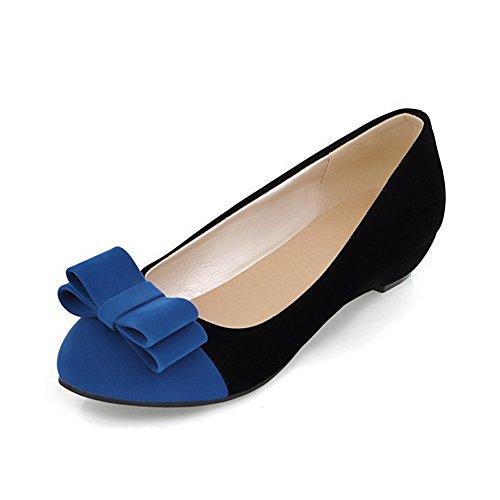 cf801ee6ec6a VogueZone009 Damen Mattglasbirne Ziehen auf Rund Zehe Niedriger Absatz  Gemischte Farbe Pumps Schuhe Blau