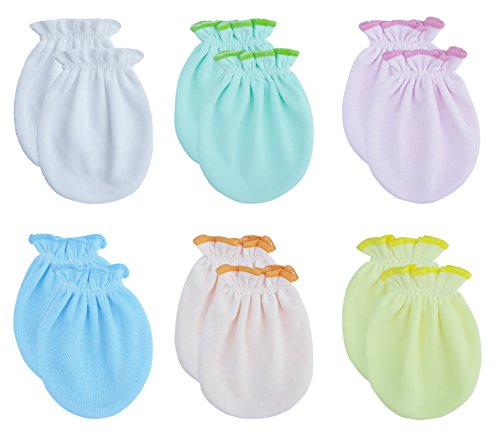 Songbai Newborn Baby Gloves,Scratch Mittens Cotton(one size, 6 Pairs/assorted)