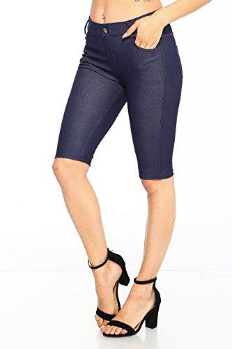 ICONOFLASH Women's Jegging Bermuda Shorts - Pull On Soft Stretchy Cotton Legging with Plus Size Options (Denim Blue, (Denim Cotton Blends)