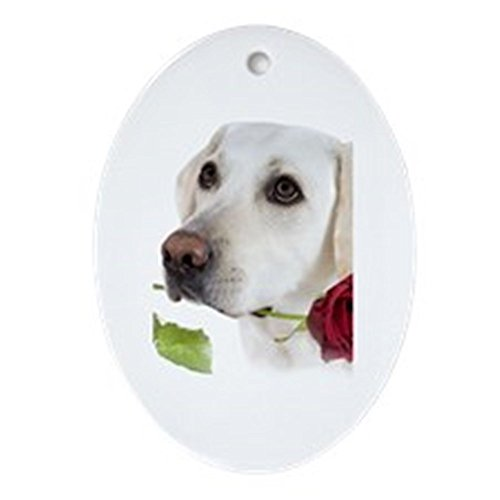 (CafePress White Lab Holds Rose Oval Ornament Oval Holiday Christmas Ornament)