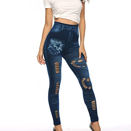 Allegorly Damen High Waisted Plus Size Long Pants Pocket Denim Jeans Stretchlange Jeans Hoch taillierte High-Stretch-Jeanshose für Damen
