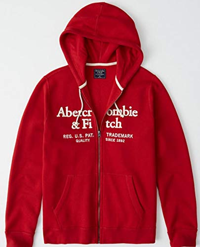 SOLD OUT!! ABERCROMBIE & FITCH HOODIE - size MEDIUM - APPLE RED AND WHITE. LOGO FULL ZIP UP JACKET HOODIE - RED WITH WHITE LETTERING SOLD OUT - (Fitch Hoodie Abercrombie)