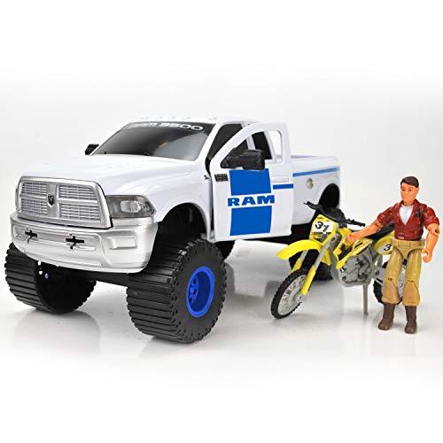 "Tree House Kids Ram with Bike Play Set Truck Bike Figure, White/Blue, 14.75"" x 7"""