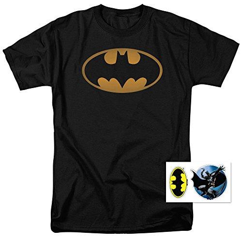 Exclusive Black T-shirt (Batman Logo DC Comics T Shirt & Exclusive Stickers (XXXX-Large))