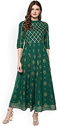 Women Green & Gold-Coloured Printed Anarkali Kurta By Dream Angel Fas