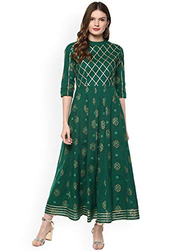 Women Green & Gold-Coloured Printed Anarkali Kurta By Dream Angel Fashion (Large-38)