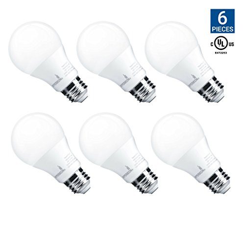 Hyperikon A19 Dimmable LED Light Bulb, 9W (60W Equivalent), ENERGY STAR Qualified, 2700K (Warm White), CRI90+, 800 Lumens, Medium Screw Base (E26), UL-Listed, Standard Light Bulb (6 Pack)