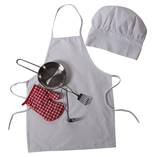 Kids White Chef Cooking Gift - Apron, Hat & 4 Piece Stainless Steel Frying Pan Set