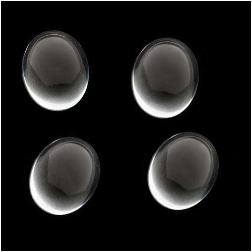 Preciosa Clear Czech Glass Cabochon Oval Beads Crystal Magnify 13mm X 18mm (4 Beads)