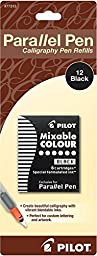 Pack of 3 Pilot Parallel Pen Ink Refills for Calligraphy Pens, Black, 12 Cartridges per Pack (77313)