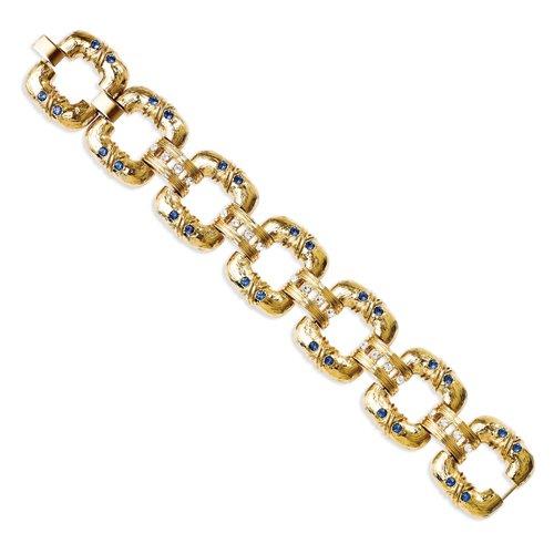 Kennedy plaqué or Swarovski Element Cristal 17,8cm avec 1en ext Bold Bracelet Lien Carré
