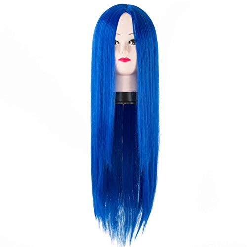 Black Wig Fei-show Synthetic Heat Resistant Long Straight Middle Part Line Cosplay Costume Hair 26 Inches Salon Party Stuffed Animals,blue,26