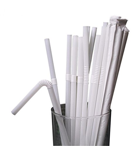 TIENO 100 Pieces White Disposable Drinking Straws Flexible Plastic Soda Smoothies Straw with Individual Packing -