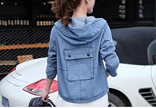 Denim Blue Hood Up Light Front Open Howme Loose Mini Parka Outwear Zip Women gSq17cYwR