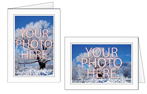 Photographer's Edge, Photo Insert Card, Snow White Linen with Single Border, Set of 10 for 4x6 Photos
