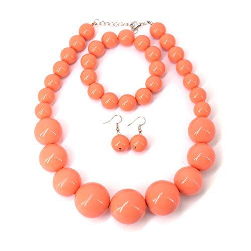 Utop Chunky Pearl Choker Necklace, Large Pearl Statement Necklace, Trending Choker Pearl Wedding Jewelry for Brides, Boho Pearl Jewelry Set (Orange)