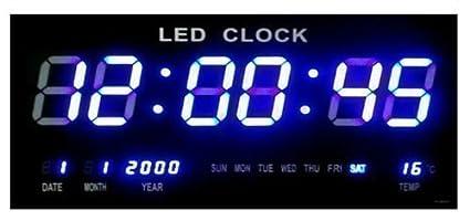 Reloj Reloj Digital LED Reloj De Cuarzo Digital Fecha Temperatura Bar Cafe Kiosko XL Azul