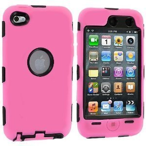 Skin Hybrid Case compatible with Apple iPod touch 4th Generation, Black Hard / Light Pink