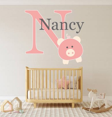 (Custom Name & Initial Cute Pig - Animal Series - Baby Girl - Nursery Wall Decal For Baby Rom Decorations - Mural Wall Decal Sticker For Home Children's Bedroom (J296) (Wide 30