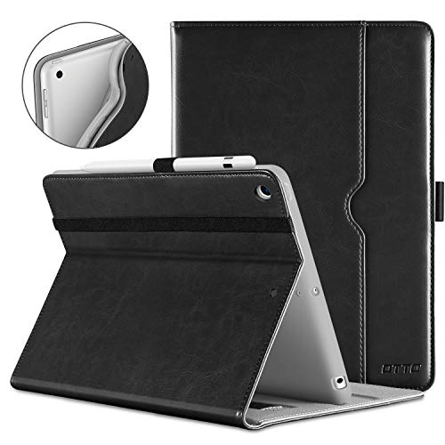 DTTO iPad 9.7 Inch 5th/6th Generation 2018/2017 Case with Apple Pencil Holder, Premium Leather Folio Cover Case for Apple iPad 9.7 inch [Auto Sleep/Wake]- Black(Grey Lining) ()