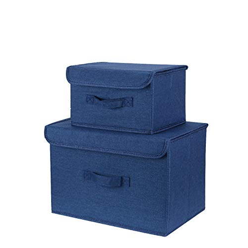 STFLY Storage Bins Organizer, Set of 2 Foldable Collapsible Large Cube Cotton Linen Canvas Storage Baskets for Shelves Cubby Laundry Playroom Closet Clothes Shoe Baby Toy with Handles (Navy) ()