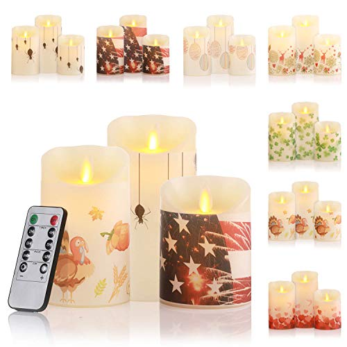LECANI 7 Festival Dress Battery Operated Candles Set of 3 Flickering Flameless Candles Timer Remote Control Halloween Thanksgiving Christmas Valentines Easter St Patrick Day 4th July Decorations