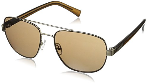 Calvin Klein Men's R357S Aviator Sunglasses, Shiny Brown, 57 - Sunglasses Men Calvin Klein