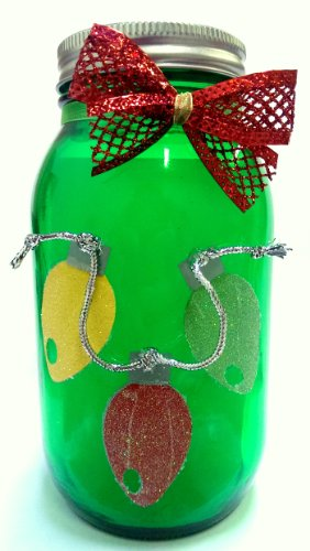 Holiday Decorated Jar with Solar Lid Light - Lights (Green) by What A Hoot Creations