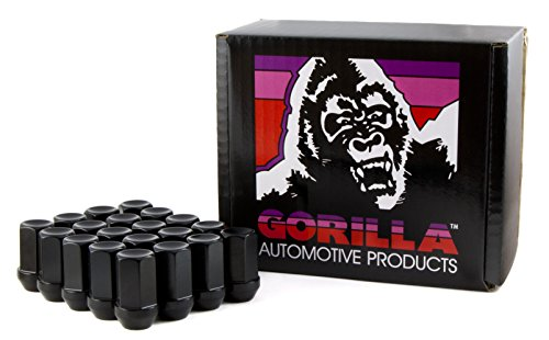 Gorilla Automotive 44138BK-20 Black 12mm x 1.50 Thread Size Aluminum Closed End Racing Lug Nut, (Pack of 20) ()