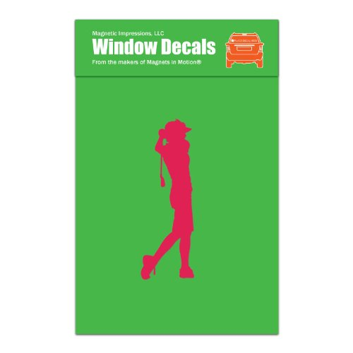 Magnetic Impressions Golfer Women's Car Window Decal Hot Pink