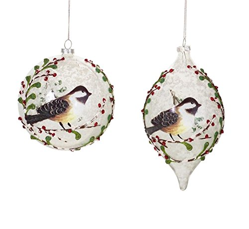 Pack of 6 Frosted Bird Ball and Drop Christmas Glass Ornament 7