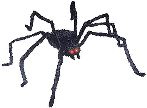 Deluxe Huge 48 Inch Animated Black Spider - Eyes Light Up, Legs Move & Makes Spooky Sounds! ()