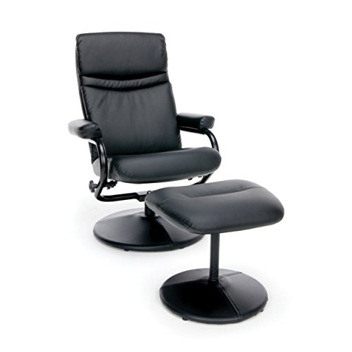 Essentials Executive Leather Reclining Chair - High Back Recliner with Ottoman - And Ottoman Recliner