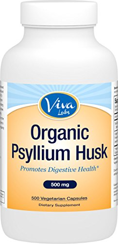Viva Labs Organic Psyllium Husk, 500mg, 500 Vegetarian Capsules - The BEST Fiber Supplement for Optimal Intestinal Health (Psyllium Husk For Baking compare prices)