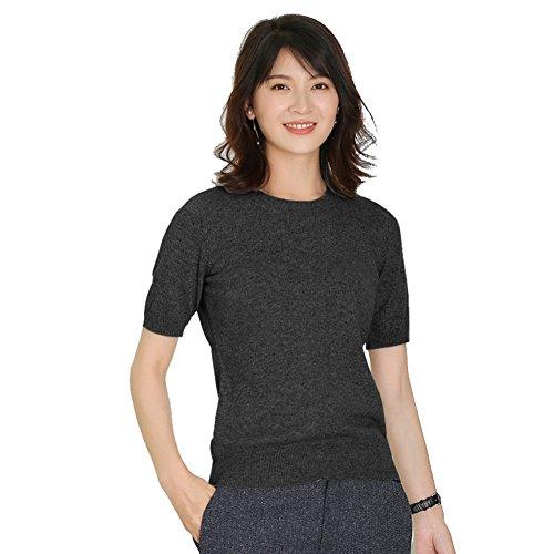 Panreddy Women's Cashmere Knitted Crewneck Short Sleeve Sweaters HA02 Dark Grey M