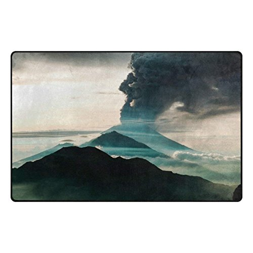 Area Rugs 24 x 16 inch Modern Soft Non-Slip Floor Mats Bali Indonesia Mountain Eruption Travel Nature Doormat Carpet for Home