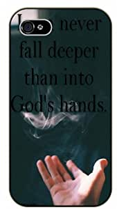 I can never fall deeper than into God's hands - Smoke - Bible verse iPhone 4 / 4s black plastic case / Christian Verses