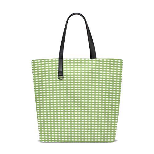 Nova Check Tote - YUMOING Women Gingham Check Plaid Fabric Pattern Squares Handle Satchel Handbags Shoulder Bag Tote Purse Messenger Bags