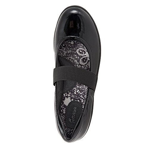 Crinkle Mary Jane High Women's Flat SoftWalk Leather Point Black Patent wvC0Sgq