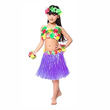 Falda Hawaiana Hula Infantil Morada (30 cm): Amazon.es: Juguetes y ...
