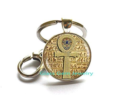 (Egyptian ankh cross Keychain, Egyptian Key Ring, ancient egypt jewelry, ankh Key Ring, Egypt Keychain, Egyptian jewelry)