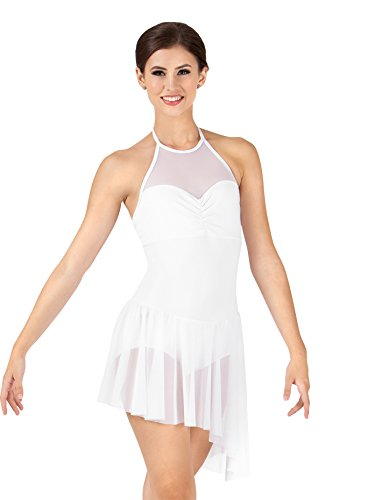 Bodice Halter Dress - Body Wrappers Adult Asymmetrical Mesh Halter Dress K262WHTL White Large