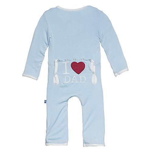 Kickee Pants Baby Boys' Fitted Applique Coverall in Pond I Love Dad, 0-3M