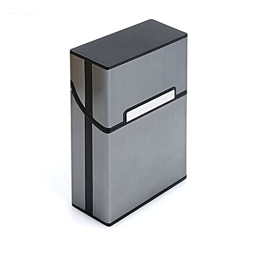 (BCHZ Metal Cigarette Box Aluminum Holder Pocket Tobacco Cigar Storage Case Black)
