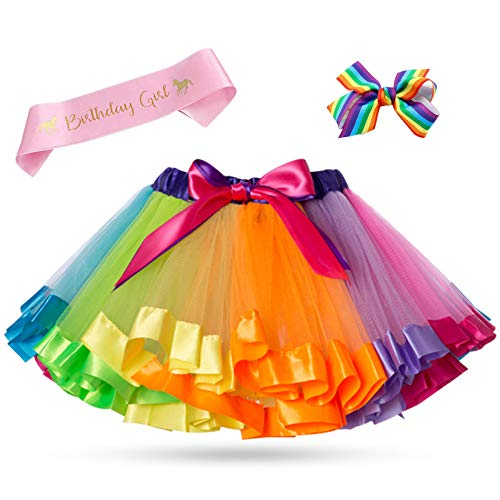KARAZZO Layered Rainbow Tutu Skirt Princess Dress up Kids Birthday Party Carnival Cosplay Christmas Outfit with Accessories