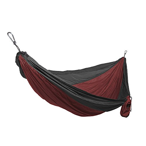 Parachute Nylon Single Hammock Color: Charcoal / Crimson