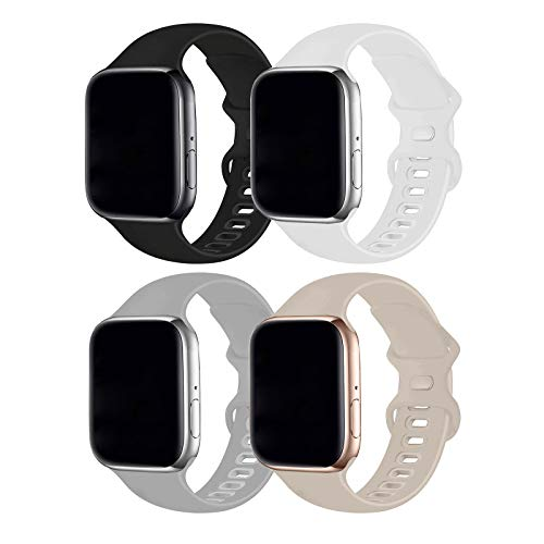 RUOQINI 4 Pack Compatible with Apple Watch Band 42mm 44mm,Sport Silicone Soft Replacement Band Compatible for Apple Watch Series SE/6/5/4/3/2/1 [S/M Size - Stone/Black/White/Fog]